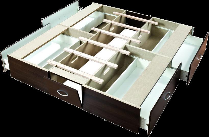 Wasserbett-Schubladensockel 4 grosse Schubladen mit Skifach